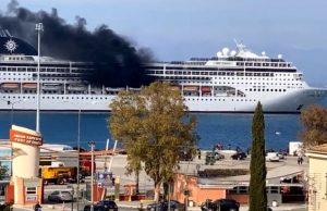 У берегов Греции на круизном лайнере вспыхнул огонь